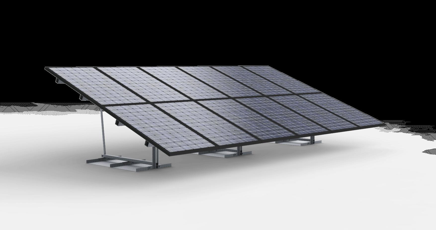Vrije veldopstelling voor 12 zonnepanelen