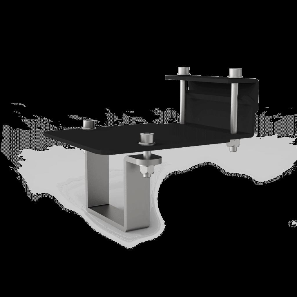 Isometrisch aanzicht montagesysteem zonnepanelen op vrije veldopstelling