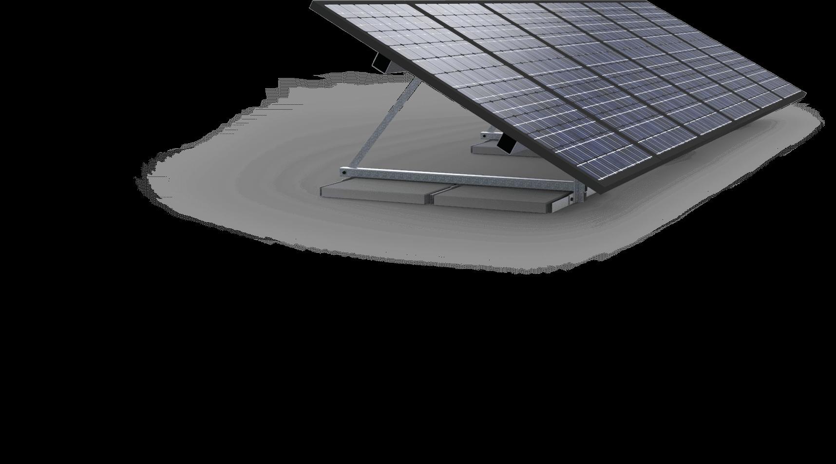 Zonne-constructie verankering middels ballast tegels