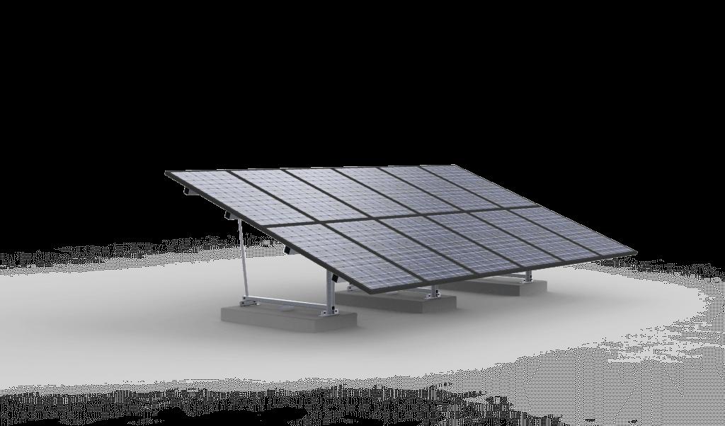 Frame zonnepanelen gemonteerd op betonplaten