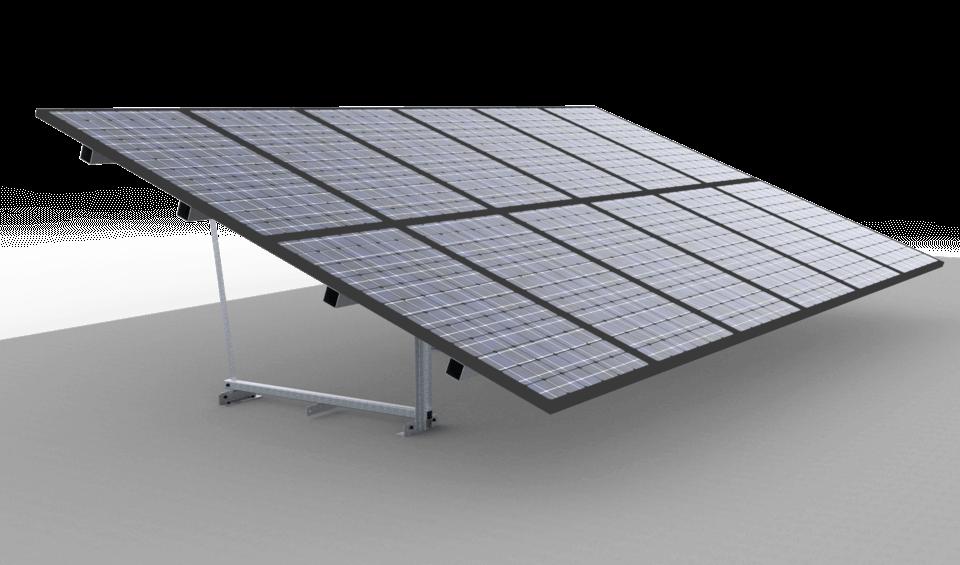 Constructie veldopstelling zonnepanelen gemonteerd verharde ondergrond