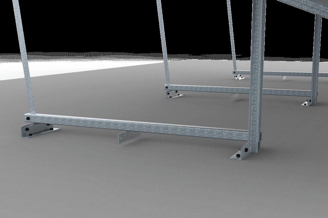 Bevestiging vrije veldopstelling zonnepanelen op betonnen vloer